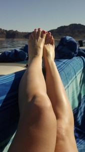 nude sunbathing on Lake Mead