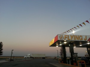 a truck stop outside Bakersburg, CA