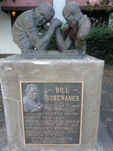 Awesome statue in Petaluma honoring Bill Soberanes, the world's #1 People-Meeter