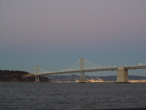 The new LED lights on the Bay Bridge, as seen while snarfing artisanal cheese and crusty bread with Zen on the waterfront