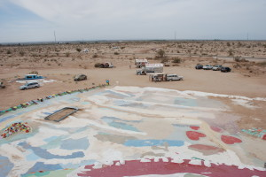Looking down from the top of Salvation Mountain. The surrounding desert is full of gypsies and eccentrics camping out   for free