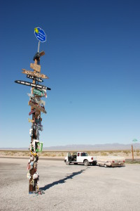 lonely road signpost on CA-62