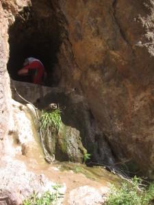 climbing up to the sauna cave