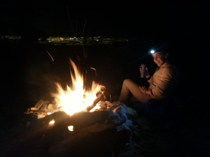 campfire and the lights of Vegas