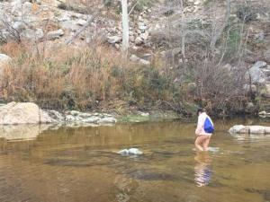 wading across the freezing creek