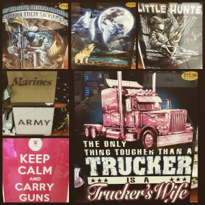 T-shirts for sale at a truck stop off I-40