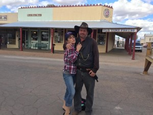 With a fake cowboy in Tombstone