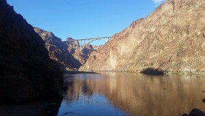 View of Hoover Dam bypass bridge from the river