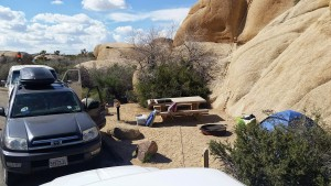 shitty campsite at Joshua Tree