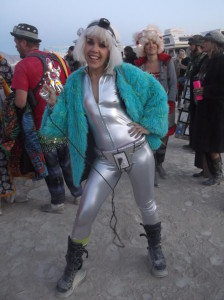 I had to ruin the effect of my silver spacesuit with Dr. Who's blue fur coat