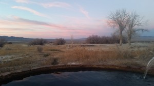 Sitting in the little pool at sunset in winter