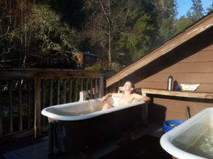 Soaking at a hot spring after the retreat